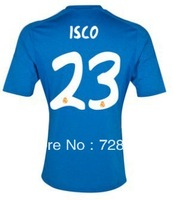2013-2014 Real Madrid away blue #23 ISCO football kits, 2014 Cheap soccer uniforms embroidery logo suits free ship ePacket