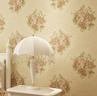 56 Sqf 10M Roll Romantic Sweet Home Red Flower Floral on Beige Damask Flocking  Wallpaper Bedroom Wallpaper Wall Covering