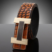 2014 Men/man The crocodile texture slide fastener buckle strap genuine leather belt fashion brief male waistband free shipping H