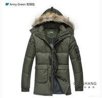 Free Shipping 2013 New big size fashion 90% white duck down men's medium-long down jacket Winter coat S M L XL XXL XXXL