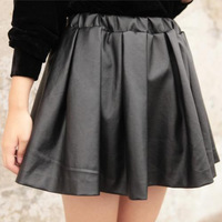 2013 winter new design high waist leather skirt elastic waist skirt women pu leather skirt big swing free shipping QZ001