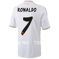 2013-2014 Real Madrid home white #7 RONALDO football kits, 2014 Cheap soccer uniforms embroidery logo suits free ship ePacket