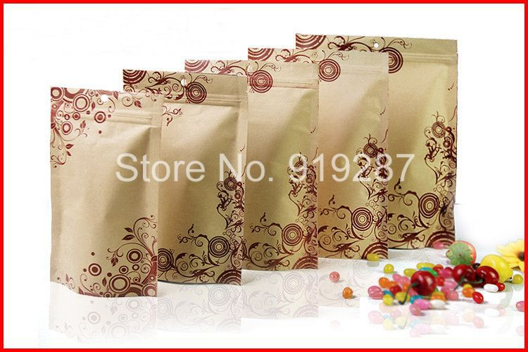 Wholesale 14*22+4cm printing kraft Paper bags ziplock coffee bags standup pouches 300g(China (Mainland))