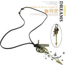 For nec  klace cupid arrow copper vintage long short design arrow necklace gift free shipping