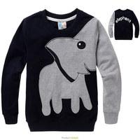 Retail children boys elephant printed cotton long sleeve T-shirt  hoody kids outerwear children hoody in stock