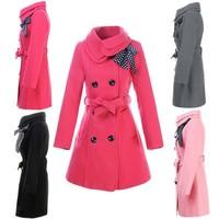 2014 New winter Coats Women Double-breasted Luxury Woollen Coat Jacket 3351