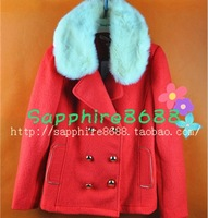 Duoyi 2013 double breasted woolen short design short fur collar outerwear 28dd40606 448