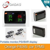 car tpms Orange P409f,4 internal sensors,PSI/BAR display,tyre pressure monitoring system,diagnostic Tools