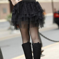 new  fashion lady lace short skirt 5 layers of yarn cake skirts ball gown skirts womens free shipping