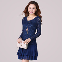 Women Elegant Plus Size 16 Long Sleeve Lace Pleated Cocktail Dress Free Shipping ynd2149