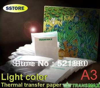 100pcs/lot Best Quality TransMax Light color A3 heat transfer paper for tshirt thermal paper sublimation transfers paper bag(China (Mainland))