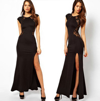 Free Shipping 2014 HOT SALE Women Summer Fashion Party Star Sexy Black Long Lace Novelty Evening Dress #S0631