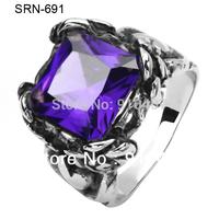 Free Shipping 5pcs/lot Katia Jewelry  316 Stainless Steel  Purple CZ Zircon  Rose Cocktail Biker Ring