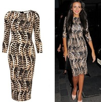 2014 New Fashion Women Bandage Dress Lady Sexy Leopard Dresses Club Party Bodycon Dress S M L XL XXL Plus Size