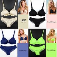 free shipping VS Women's bra briefs set Deep V-neck Neon Color Seamless Bra Set Simple Style