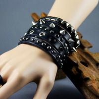 Free shipping (Wholesale Price) PUNK Stud Black Leather Wristbands Rock Style Spiker Bracelet Wristbands