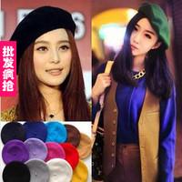 Cheap Women Hats Autumn and winter beret painter cap wool hat female cashmere berets