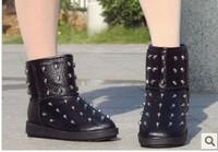 2013 winter skull platform snow boots rivet boots fashion cotton boots