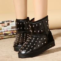 2013 cool boots rivet snow boots female cotton boots thickening platform thermal winter boots