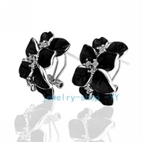18KGP E017 Black Leaf Free shipping,18K Platinum plated earrings, Fashion jewelry, nickel free, plating platinum, Rhinestone