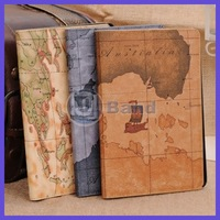 For iPad mini 2 New Arrival Fashion World Map Stand Smart Cover Shell Leather Case Free Shipping