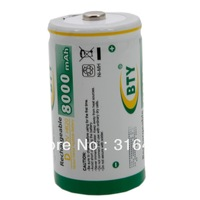 Free shipping 2pcs/lot  1.2v  NI-MH D size/LR20/AM1 rechargeable battery in 8000mAh