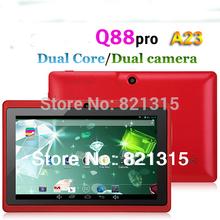 Q88 pro allwinner A23,Dual core Q88 tablet pc, android 4.2 Q88,1.5GHz RAM DDR3 512MB ROM 4GB Dual Camera WiFi OTG Free shipping