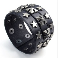 2014 hot NEW free shipping 316L stainless steel genuine leather bangle, punk Bracelet 40mm width bracelet, fashion jewelry