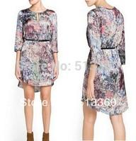 2013 New Arrival Ladies' Vintage floral print Dresses elegant O-neck Three quarters sleeve casual slim brand designer dress