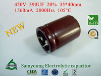 2014 New 390uF 450V 20% 35X40mm Snap-in 1560mA 2000h 105C Power Samyoung Aluminum Electrolytic Capacitors 50pcs/Box Stock