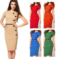 2014 New Fashion Celebrity Dress Professional Women Dresses Sashes Lady's Casual Dress S M L XL XXL Wholesale