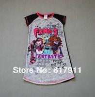 2014 Summer girl cartoon pajamas girls nightgown girls clothes brand kid clothing monster.high girls Nightgowns pajamas