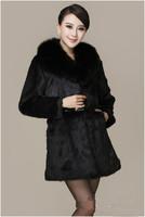 """""""New Real 100% Rabbit Fur Women Long Coat Jacket Fox Collars Overcoat  ZPP044"""""""
