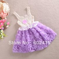 5pcs/lot new arrivel 2014 Children girl's summer 3d rose Hollow out dress spaghetti strape Ball Gown princess dress 3colors 158