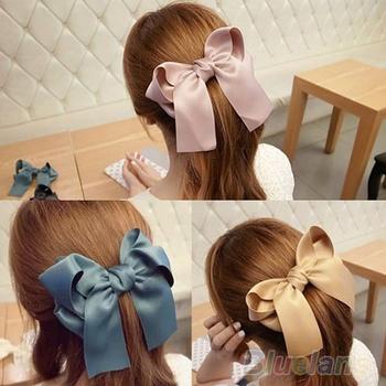 Korean Women Multicolor Satin Ribbon Bow Hair Clips Barrette Ponytail Holder 000Z ...