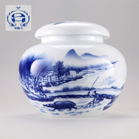 Small caddy sealed cans gcaddy blue and white porcelain