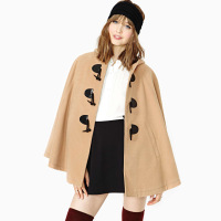 Big horn button with a hood outerwear double faced velvet cloak overcoat camel haoduoyi
