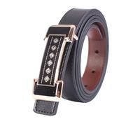 Rhinestone Buckle Black Genuine Leather Women Belt Ladies Waistband (4 colours)