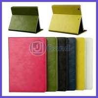 20pcs/lot High Quality Luxury Oil Wax Leather Case For Apple iPad Mini 2 Smart Stand Cover