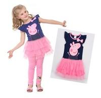 Retail,2014 New Girls Summer Dress,Peppa Pig Model Girls Short Sleeve Dress,Girls Clothes,Free Shipping IN STOCK