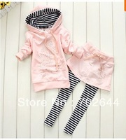 Retai ~New girls Mickey hoodies+striped skirt pants leggings 2pcs clothing sets minnie kids cartoon suits,1set