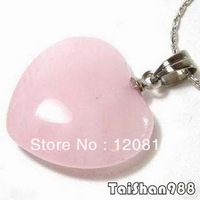 Pink Jade Silver Heart Love pendant Necklace