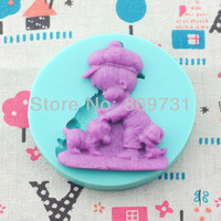 Free Shipping baby with little dog silicone cake mold fondant Cake decoration mold tools