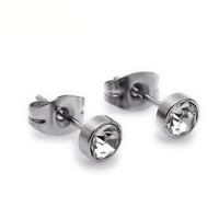 Silver Stainless Steel Stud Mens Earrings,Round 4mm With White Crystal Earrings