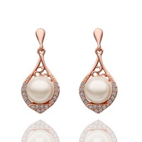 Christmas gift!18k rose gold jewellery earring,newest design full Austria crystal pearl pendant earring . Women jewellery E523