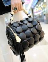 Buttons bag multifunctional women's bucket bag handbag one shoulder cross-body Women Leather Bags