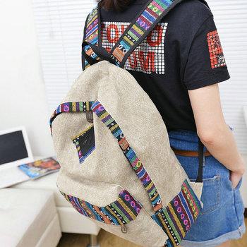 Новый женской женщины этнической краткое холст рюкзак элегантное школа стиля Леди ...