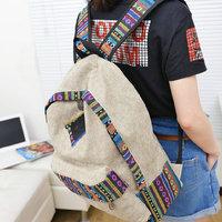 New female women ethnic brief canvas backpack preppy style school Lady girl student school Travel laptop bag mochila bolsas