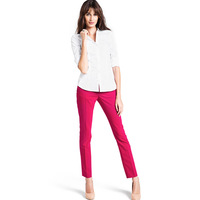 Cherry red slim female casual western-style trousers line skirt-pocket back pocket trousers 6 full haoduoyi