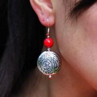 National trend accessories handmade exquisite chaeseokgang earrings earring drop earring national earrings rh-3091